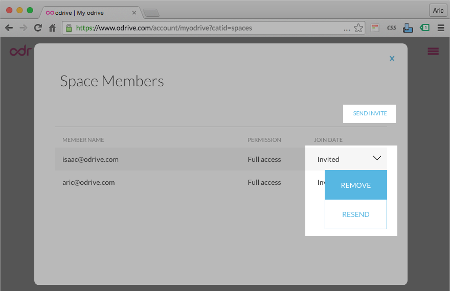 Invite or remove existing members
